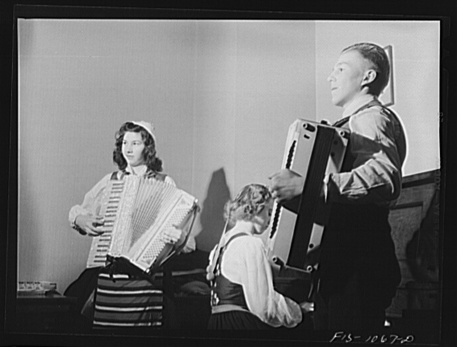 The musicians at a costume dance for young Swedish-Americans in a small Minnesota town