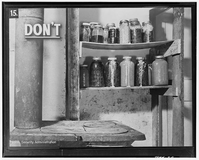 This is a poor place to keep canned foods. The jars are too near the stove