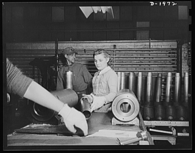 Three-inch A.A. cartridge cases. Antiaircraft cartridge cases must be correct in size. A careful gauge inspection assures precision
