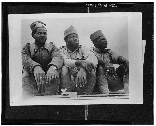 Three members of the Free French foreign legion who distinguished themselves in the battle at Bir Hacheim in the Western desert. They are from Senegal, Equatorial Africa, and Madagascar, respectively