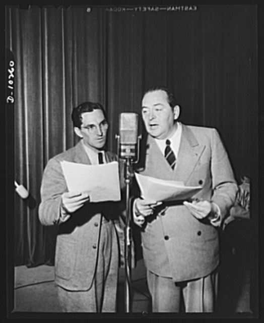 """Three Thirds of the Nation. Howard McNeer and Edward Arnold during rehearsal of the War Production Board (WPB) radio program """"Steel."""" McNeer played the automobile which wished it was a jeep"""