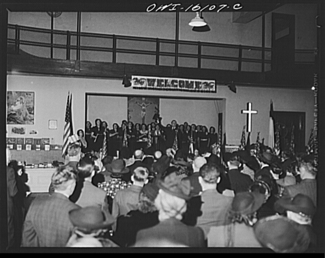 Toledo, Ohio. Evangelical church ceremony at which the preacher delivered a hysterical speech, and then burned a copy of Hitler's Mein Kampf. Interior of the church