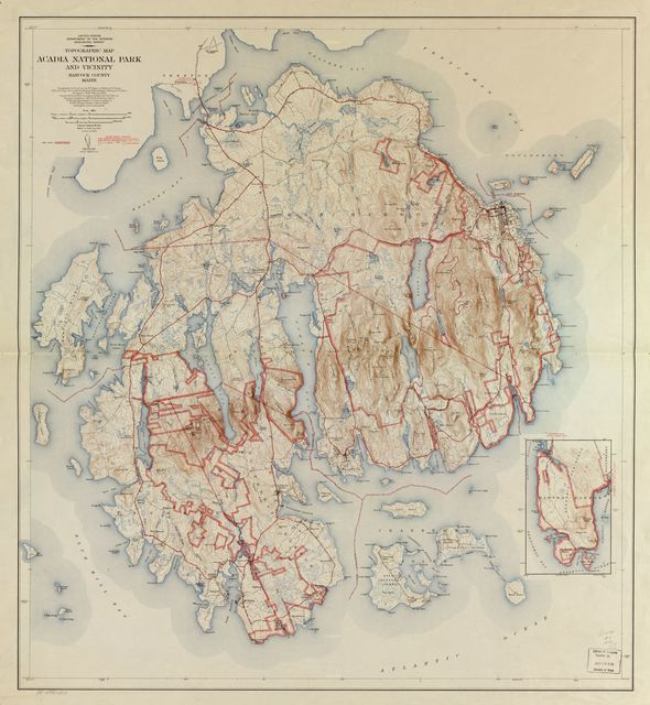 Topographic Map, Acadia National Park and vicinity, Hancock County, Maine.