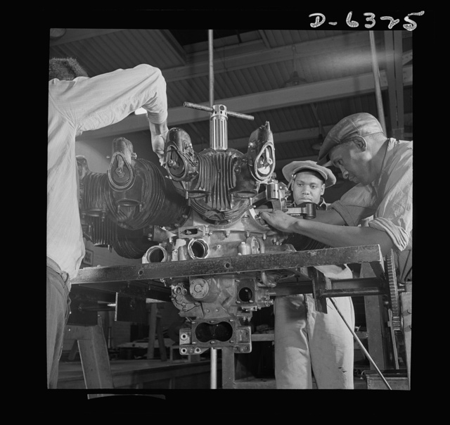 Training. Work Projects Administration (WPA) vocational school. The complicated mechanism of an airplane engine will be no mystery to these District of Columbia students when they finish their WPA vocational training course in airplane mechanics. Upon completion of training, they will be qualified for jobs in some phase of the construction or maintenance of the United Nation's air armada