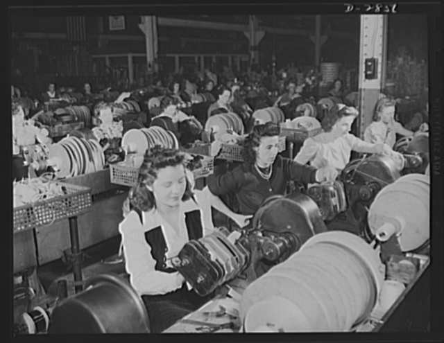 Transformer manufacture. Nimble fingers are essential to rapid and skilled winding of coils for distribution transformers; for this reason, women are often preferred for the job. Production of these coils has been stepped up enormously due to the war production program. Westinghouse, Sharon, Pennsylvania