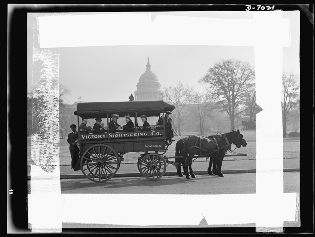 Transportation. Sight-seeing bus. Faced with a ban on motor buses for sightseeing purposes, Jimmy Grace obtained a horse-drawn bus which makes daily trips to the points of interest of the nation's capital