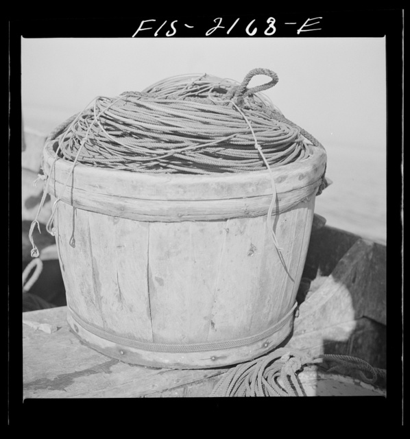 Tub of lines aboard a Portuguese dory out off Cape Cod, Massachusetts