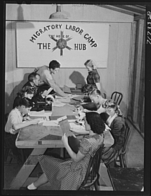 Tulare County, California. FSA (Farm Security Administration) farm workers' camp. The campers publish the camp paper