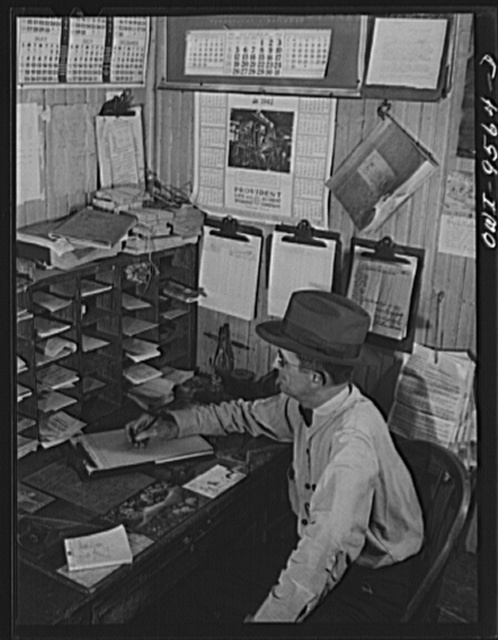 Tulsa, Oklahoma. In the yard master's office at the Frisco railroad