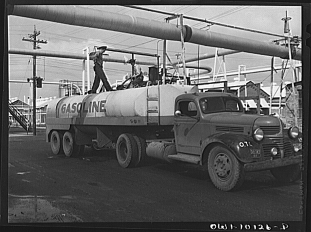 Tulsa, Oklahoma. Loading a truck with gasoline at the Mid-continent refinery