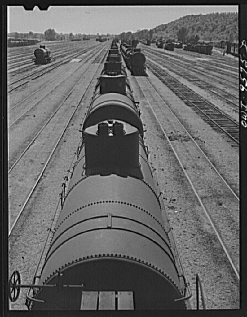Tulsa, Oklahoma. Oil tank cars in the railroad yards