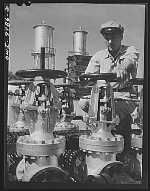 Tulsa, Oklahoma. Operating valve which controls the flow at the Great Lakes pumping station