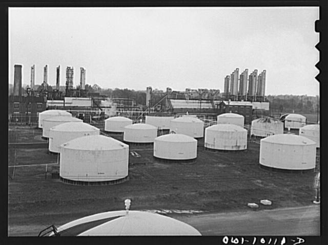 Tulsa, Oklahoma. Storage tanks at the Mid-continent refinery