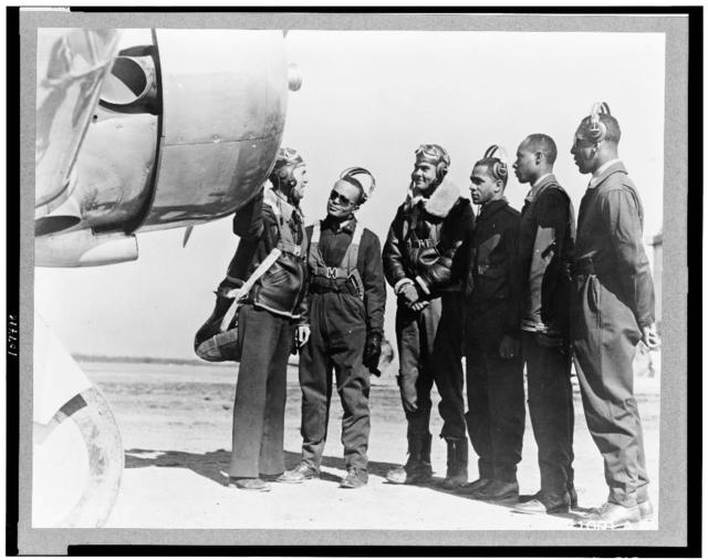 [Tuskegee, Ala.  Mar. 1942.  Members of the first class of Negro pilots in the history of the US Army Air Corps who were graduated at the advanced flying school as second lieutenants by Major General George E. Stratemeyer]