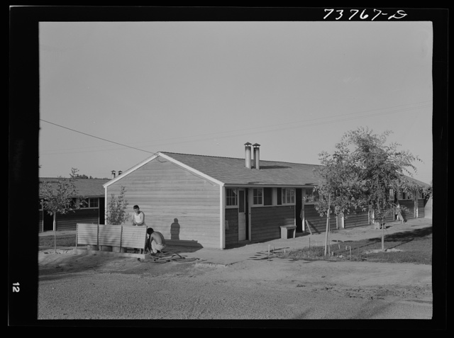 Twin Falls, Idaho. FSA (Farm Security Administration) farm workers' camp. Row shelters in which the Japanese live