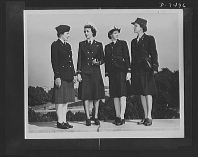 Uncle Sam's nieces. First photographs showing all four women's branches of the armed services in uniform. The photographs have been taken in compliance with a request to show the distinguishing features of each type of uniform and to aid the public in identifying each branch. Left to right: Second Lieutenant Doris Hyde of Lancaster, Pennsylvania, U.S. Army Nurse Corps; Ensign Mary E. Hill of Elizabeth City, North Carolina, U.S. Navy Nurse Corps; Lieutenant Marion R. Enright of Forest Hills, Long Island, New York, of the WAVES (Women Accepted to Voluntary Emergency Service); Lieutenant Alberta M. Holdsworth of Boston, Massachusetts, of the WAACs (Women's Army Auxiliary Corps). The photographs were taken at Washington, D.C.
