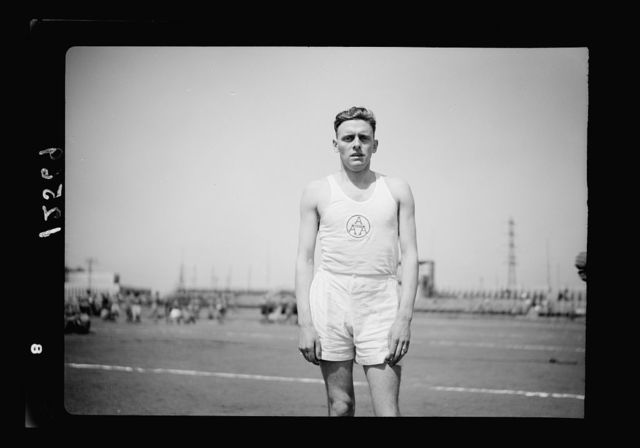 United Services Athletic meeting at Tel Aviv Maccabiah Stadium on Sat. May 2, 1942. J.F. [i.e., J.V.] Powell, 880 yds championship winner & winner of 800 m on this occasion-