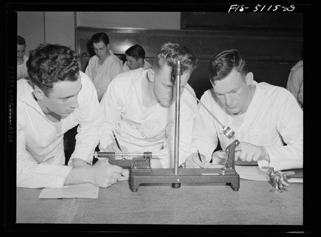 U.S. Naval Academy, Annapolis, Maryland. Class in physics