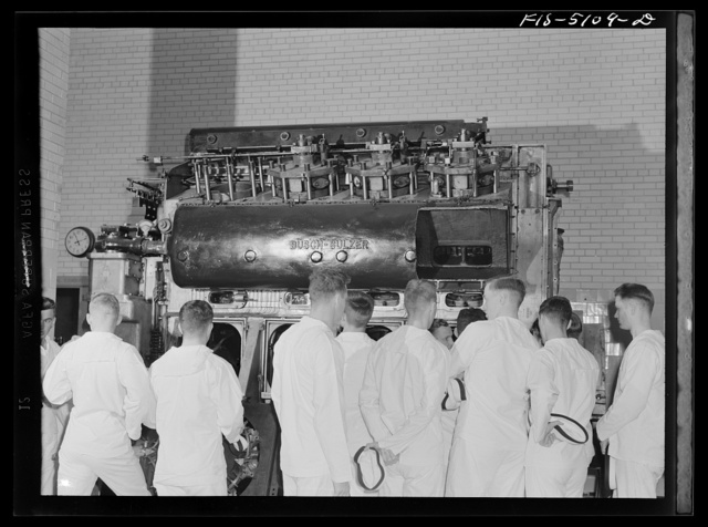 U.S. Naval Academy, Annapolis, Maryland. Studying a diesel motor