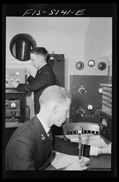 U.S. Naval Academy, Annapolis, Maryland. Studying radio and communications