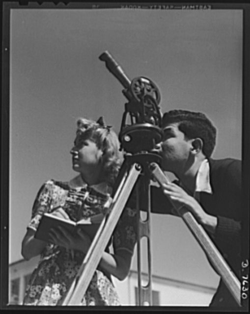 Victory Corps, tomorrow's defenders of liberty. As part of training in the fundamentals of navigation, Senta Osoling and George Agzarian make a ballon observation. This instruction ties in with Polytechnic High School's Victory Corps activities offering students opportunity for important technical preparation for war service