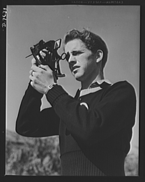Victory Corps, tomorrow's defenders of liberty. Boys trained in the fundamentals of navigation may become technicians in the armed service. Thomas Graham, a member of the Victory Corps at Polytechnic High School in Los Angeles, California, is learning to use a sextant to determine longitude and latitude