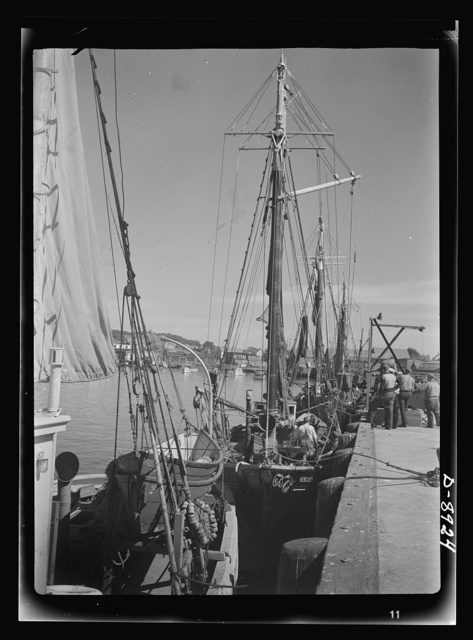 Victory food from American waters. At the docks in Gloucester, Massachusetts, crew members prepare their trawler for a week's voyage. Most of the fishermen in the city come from a line of fishermen that dates back for centuries