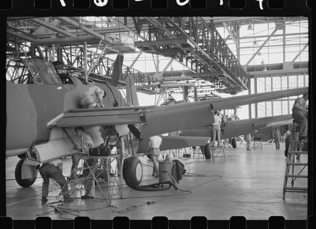 Vultee Aircraft, Nashville, Tennessee. Bombers on the assembly line