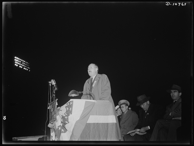 War production drive. Anthracite rallies. Alex Nordholm, Chief of Field Operations, War Production Drive, addressed servicemen and miners at the anthracite rally in Hazleton, Pennsylvania. Anthracite miners' rallies were held in four Pennsylvania cities, September 28th through October 1st