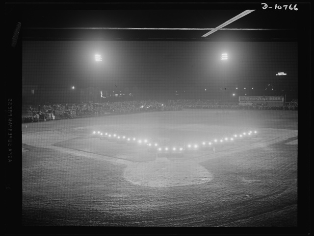 War production drive. Anthracite rallies. Jeep headlights form V for victory at the night rally for Pennsylvania anthracite miners in Wilkes-Barre on September 29th. Similar rallies were held in other anthracite area cities from September 28th through October 1st