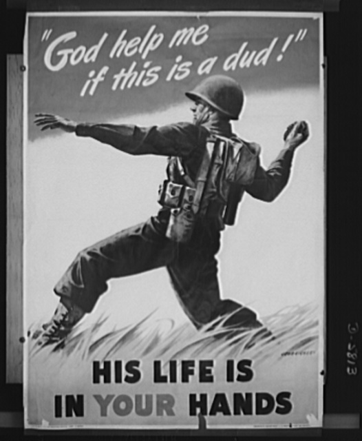 War production drive poster. Poster distributed by the Ordnance Department, U.S. Army, to labor management committees. The original, size 28 1/2 inches by 40 inches, may be obtained from war production drive headquarters, War Production Board (WPB), Washington, D.C.