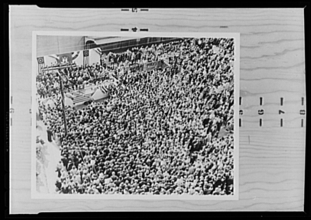 War production drive. The enthusiasm generated by the War Production Drive is graphically shown by this picture of Westinghouse employees attending a rally sponsored by the War Production Board (WPB) Joint Committee. Army, Navy and union officials spoke and a returned war correspondent told of his experiences on the war front