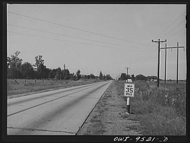 Wartime speed limit marker on an Arkansas highway