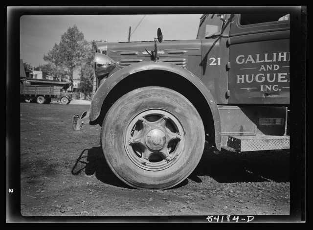 Washington, D.C. A Galliher and Huguely, Inc. truck, showing a close-up view of one of the tires