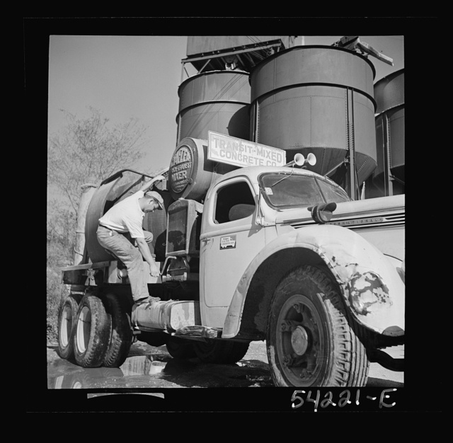 Washington, D.C. A Jaeger truck-transit mixer, showing a man operating the mixer. On the door of the truck is the United States Truck Conservation Corps pledge
