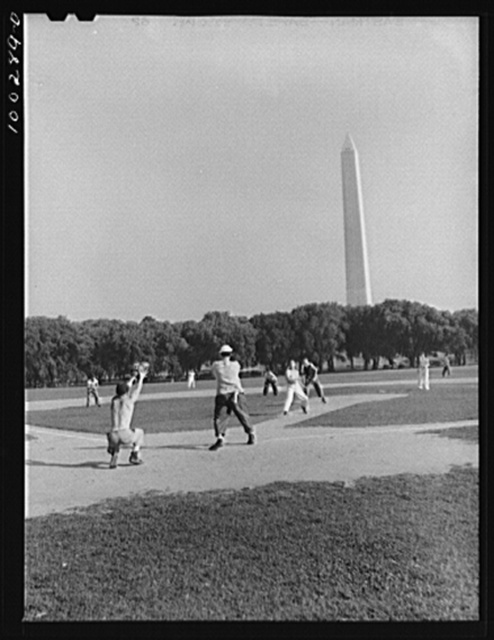 Washington, D.C. Amateur baseball games are held daily on fields near the Washington Monument, between rival governmental departments, employees of restaurants, garages, etc.