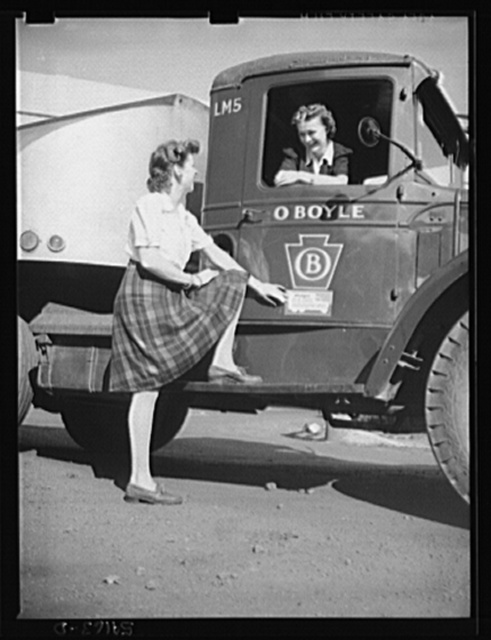 Washington, D.C. An O. Boyle truck showing two girls, one inside it and one on the running board, looking at the United States Truck Conservation Corps pledge on the door of it