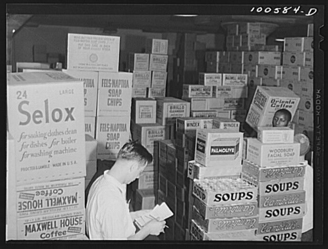 Washington, D.C. Checking merchandise in the grocery department of the District grocery store warehouse