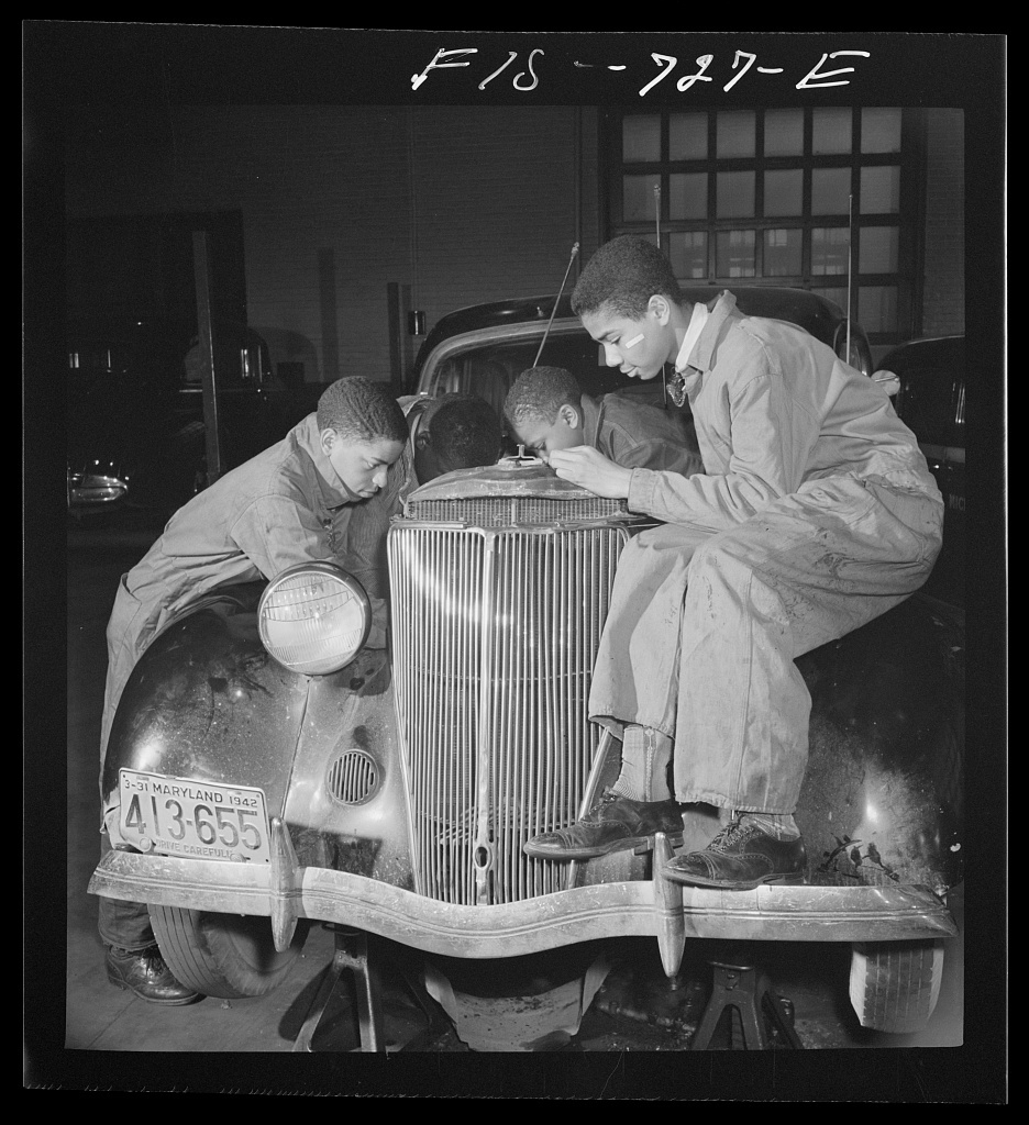 Washington, D.C. Class in car repairs at the Armstrong Technical High School