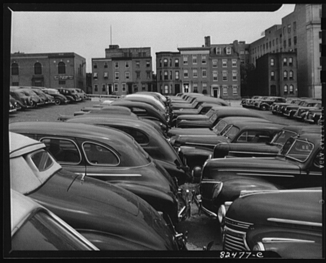 Washington D.C. Congested parking downtown after both tire and gas rationing had been put into force