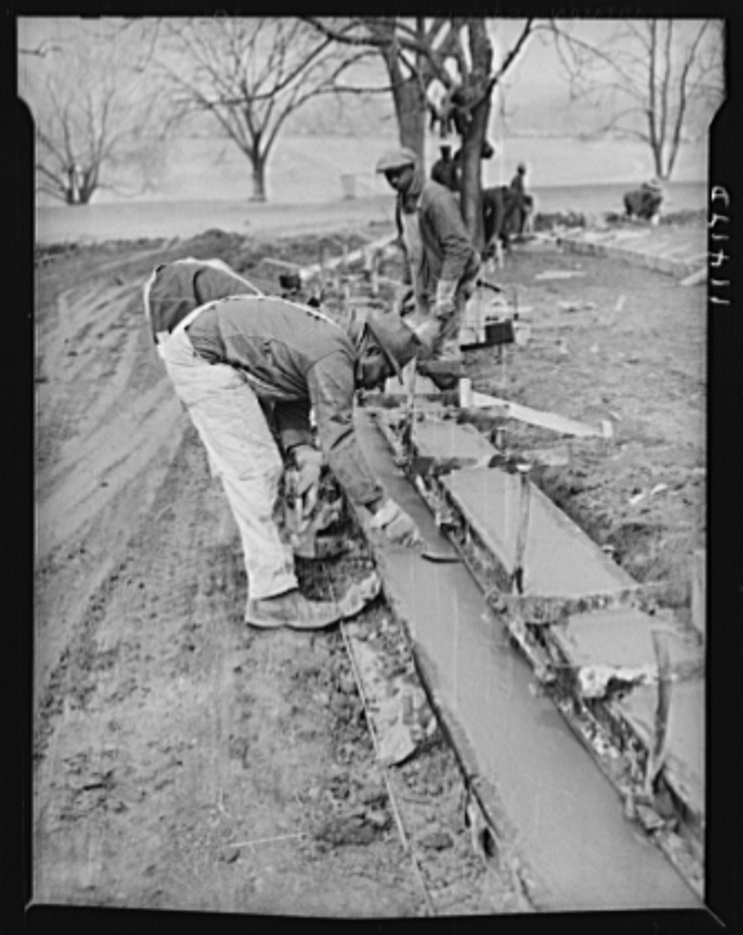Washington, D.C. Construction of a bridge and road near Independence Avenue and 14th and 16th Streets, S.W. Finishing a curb