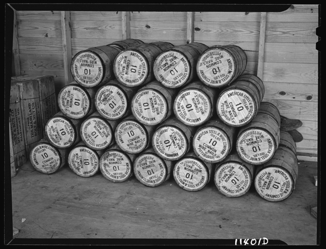 Washington, D.C. Construction of temporary war emergency buildings on the Mall, near 16th and 17th Streets, N.W. Nail kegs in contractor's store house