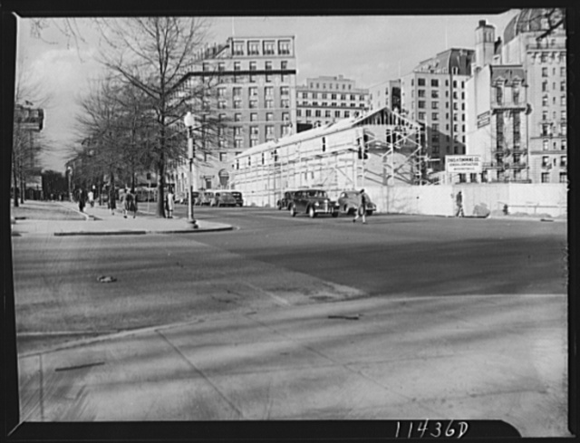 Washington, D.C. Contractor's office and tool house used during the construction of the United States Information Center on Pennsylvania Avenue, between 14th and 15th Streets