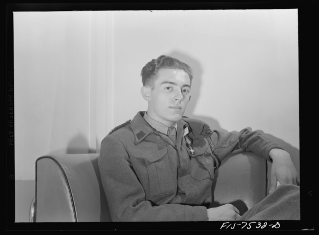 Washington, D.C. Foreign students at the international student assembly recording short talks in their native language to be broadcast by shortwave, after censorship by the OWI (Office of War Information), to Nazi-held territory. Corporal Hezemierz Dziedzioch of Poland, eighteen years old. He spoke from the military standpoint. He lost his leg in the Narvik raid with the British and wears the decoration for heroism on his shoulder