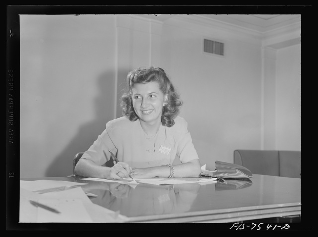 Washington, D.C. Foreign students at the international student assembly recording short talks in their native language to be broadcast by shortwave, after censorship by the Office of War Information (OWI), to Nazi-held territory. Evelyn Rains of Chile
