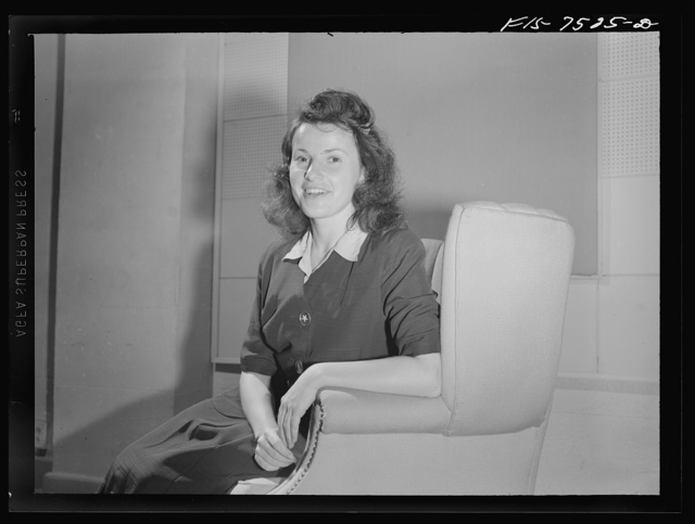 Washington, D.C. Foreign students at the International student assembly recording short talks in their native language to be broadcast by shortwave after censorship by the Office of War Information (OWI) to Nazi-held territory. Niquett, speaking in French and Flemish, referred to Mrs. Roosevelt's interest in the plight of the Belgian people