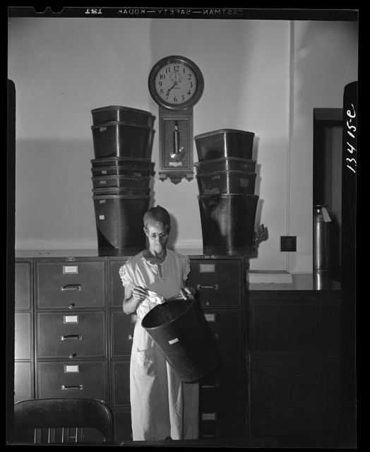 Washington, D.C. Government charwoman who provides for a family of six on her salary of one thousand and eighty dollars per year. She has been a federal employee for twenty-six years