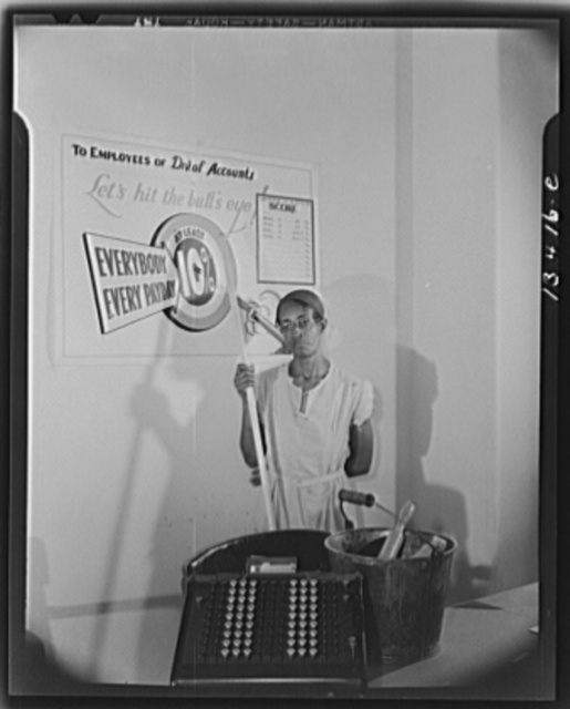 Washington, D.C. Government charwoman who provides for a family of six on her salary of one thousand and eighty dollars per year. She puts ten percent of her salary in war bonds
