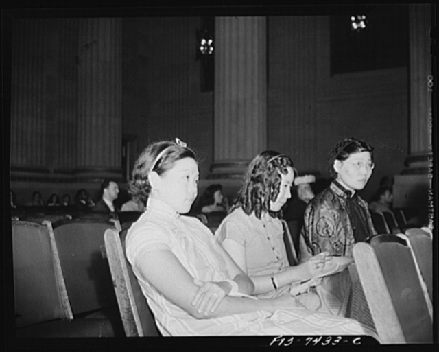 Washington, D.C. International student assembly. Betty Tang, a student at Radcliffe College; Li-En Lew, a student at Bryn Mawr College; Mrs. Lew, mother of Li-En Lew
