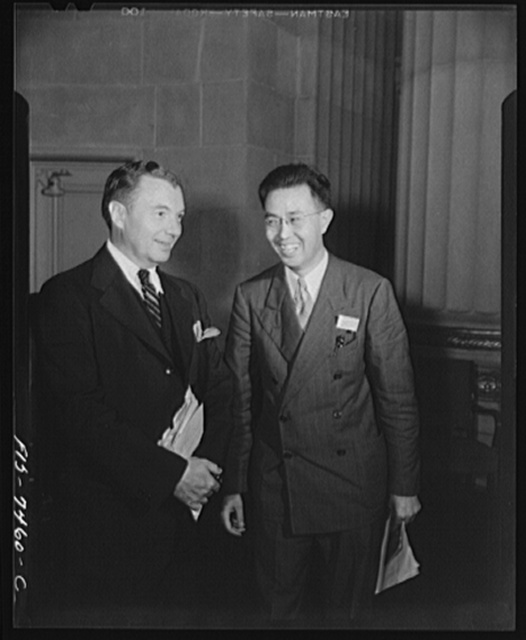 Washington, D.C. International student assembly. Hung-Ti Chu, head of the Chinese delegation and Robert H. Jackson, associate justice of the U.S. Supreme Court
